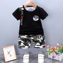 2019 new summer 1-4 years old cotton short-sleeved camouflage shorts two-piece baby children suit trend стоимость