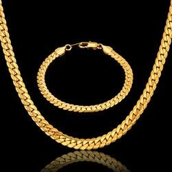 Chaînes en or Hiphop pour hommes, ensemble Bracelet/collier couleur or, bijoux pour hommes, ensembles de bijoux de chaîne de Style américain, plus, Offre Spéciale