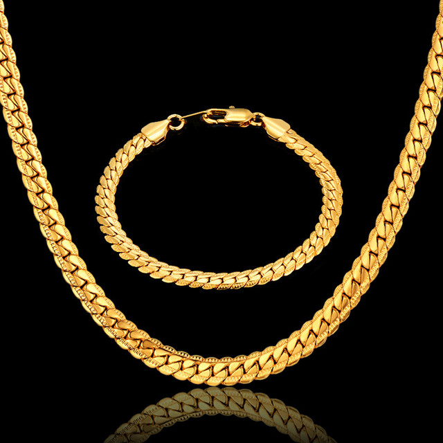 Hiphop Gold Chains For Men Hot Sale BraceletNecklace Set Gold Color