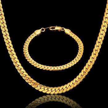 ff5e870cf68b Hiphop cadenas de oro para hombres Venta caliente pulsera Collar de Color  oro de la
