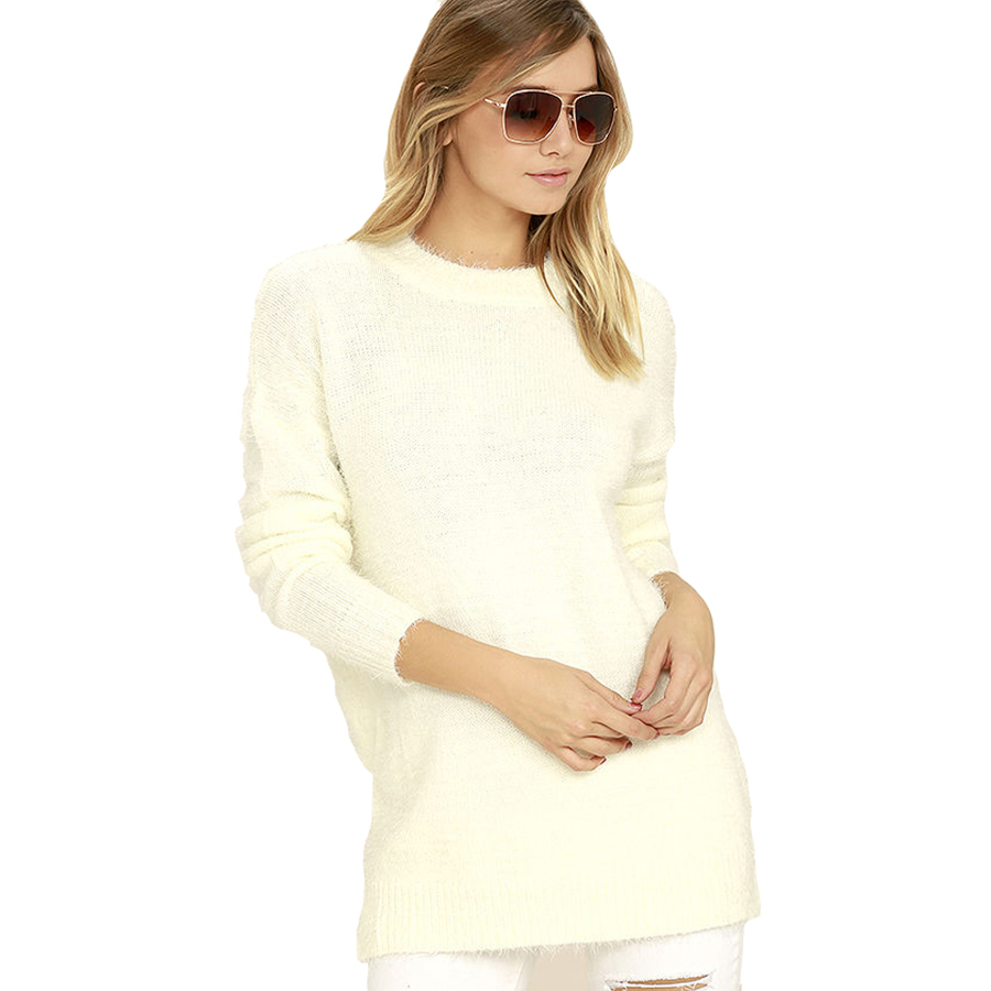 V Neck White Cashmere Sexy Sweater Women Long Womens Pullover Christmas Sweaters Family Oversized Jumpers Tunic Winter K6B45