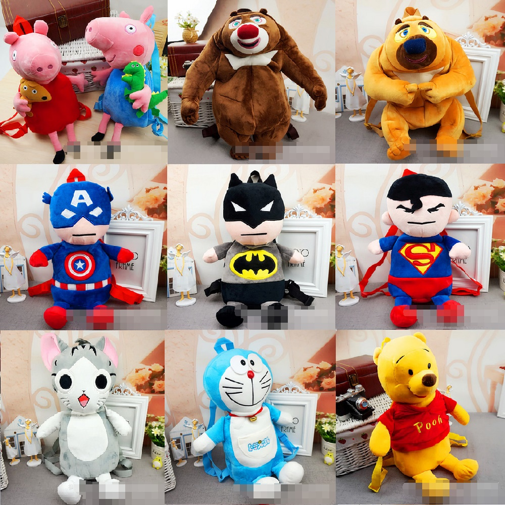 Candice guo plush toy stuffed doll cartoon animal backpack shoulder bag Satchel bear super man cat Doraemon batman schoolbag 1pc