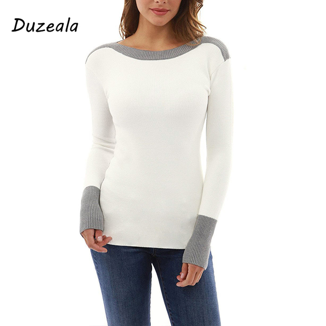 Duzeala Autumn Winter White Casual Patchwork O-Neck Long Sleeve T shirt Women Tshirt Tops T-shirts For Women