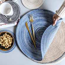 Round Woven Placemat,Table Pad Heat Resistant Mat Linen Non Slip Table Coaster Home Decoration Christmas