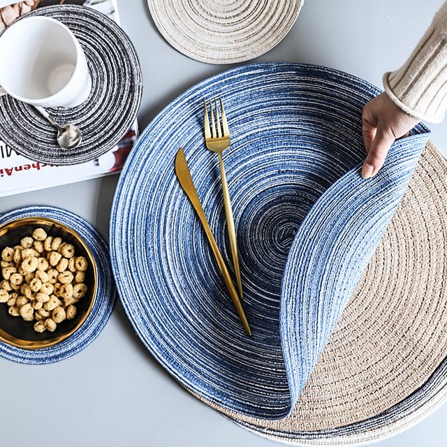Round Woven Placemat Table Pad Heat Resistant Mat Linen Non Slip Coaster Home Decoration Christmas