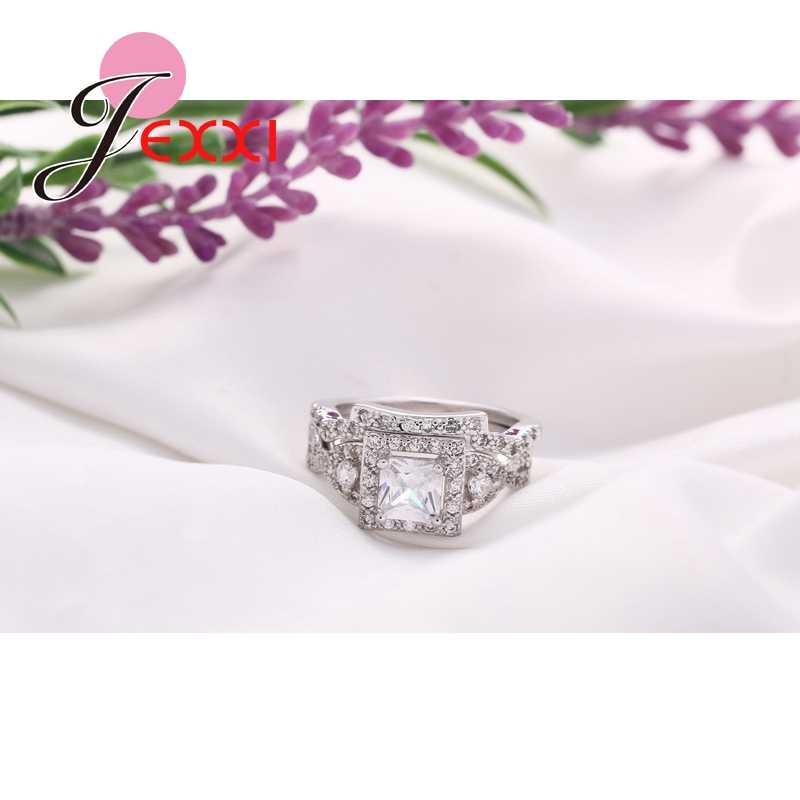 De alta Qualidade Da Moda Clássico 925 Conjuntos Anel De Casamento de Prata Esterlina Para Mulheres Praça Cristal CZ Nupcial Anel de Noivado