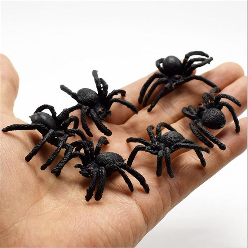 Gags & Practical Jokes 5pcs/lot Halloween Gadget Plastic Black Spider Joking Toys Slime Toy Realistic For Playing Fun Brincando Brinquedos Novelty & Gag Toys