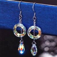 Fine Crystal Long Drop Earrings For Women Korea Style Fashion Circle Water Drop Ear Brincos Wedding Jewelry 925 Sterling Silver