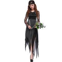 Ghost Bride Halloween Carnival Costume Women Cosplay Irregular Lace Dresses Medieval Victorian Dresses Zombie Bride Vestidos