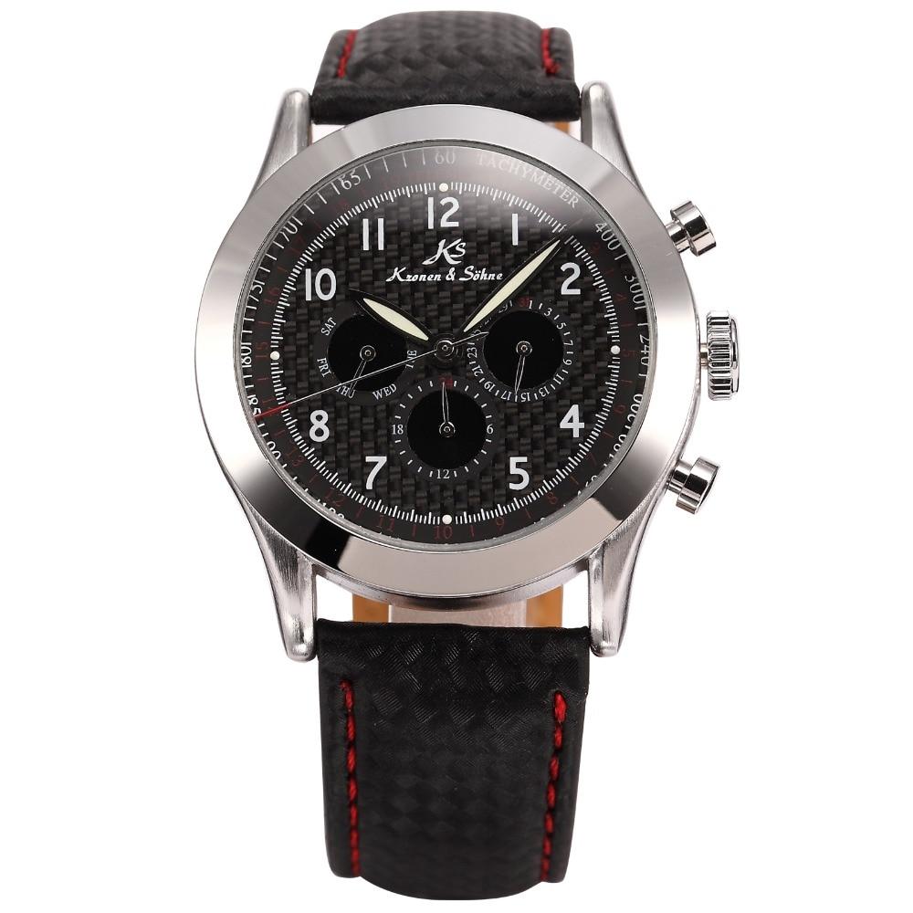 ФОТО Navigator KS Black Automatic Self Winding Watch Men Vintage Male Clock Calendar Relojes Auto Wrap Man Mechanical Watches /KS127