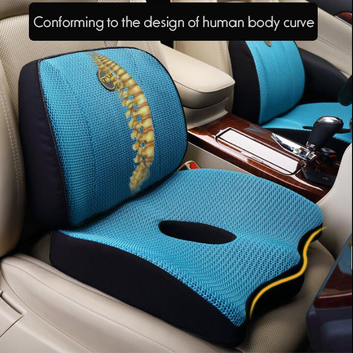 Hot Sell Ventilated Mesh Fabric Adult Seat Back Support Lumbar Support Pillow and Seat Cushion Sets
