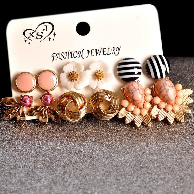 Brincos femininos dourados, joias rosa com formatos florais misturados 6 pares/set presentes 2