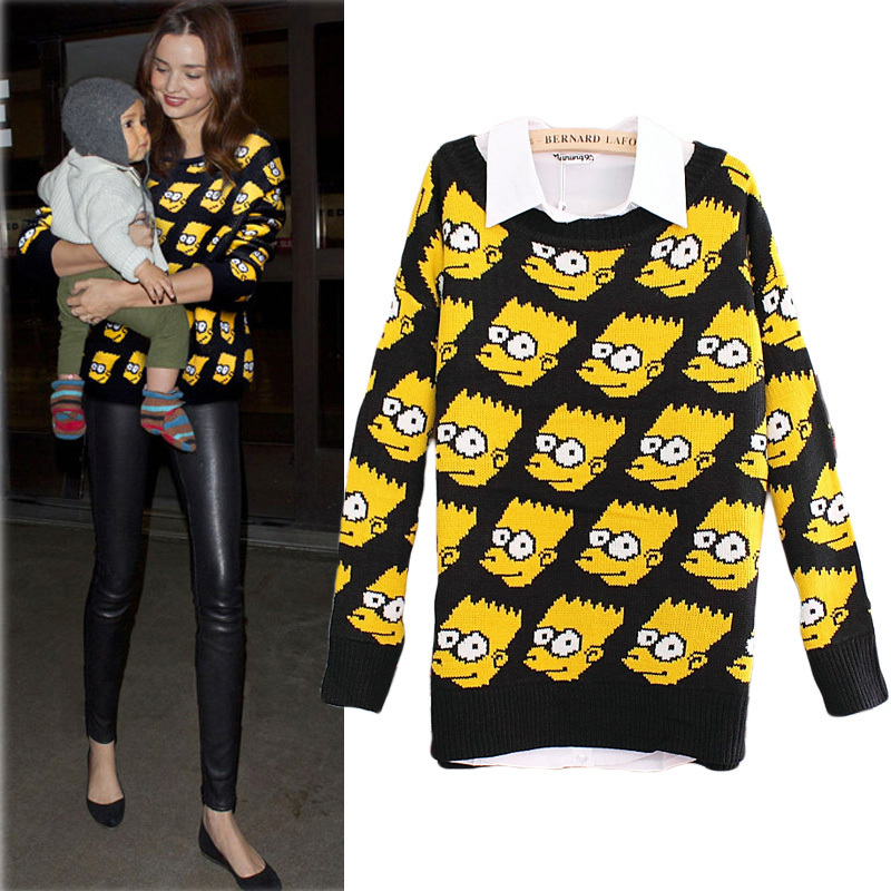 Women Carton Young Bart Man Simpson Pullover Knitted Sweater Sweat