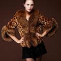 2015 новый зимой искусственного меха лисы женский мода сексуальная леопардовый три четверти верхняя одежда Большой размер
