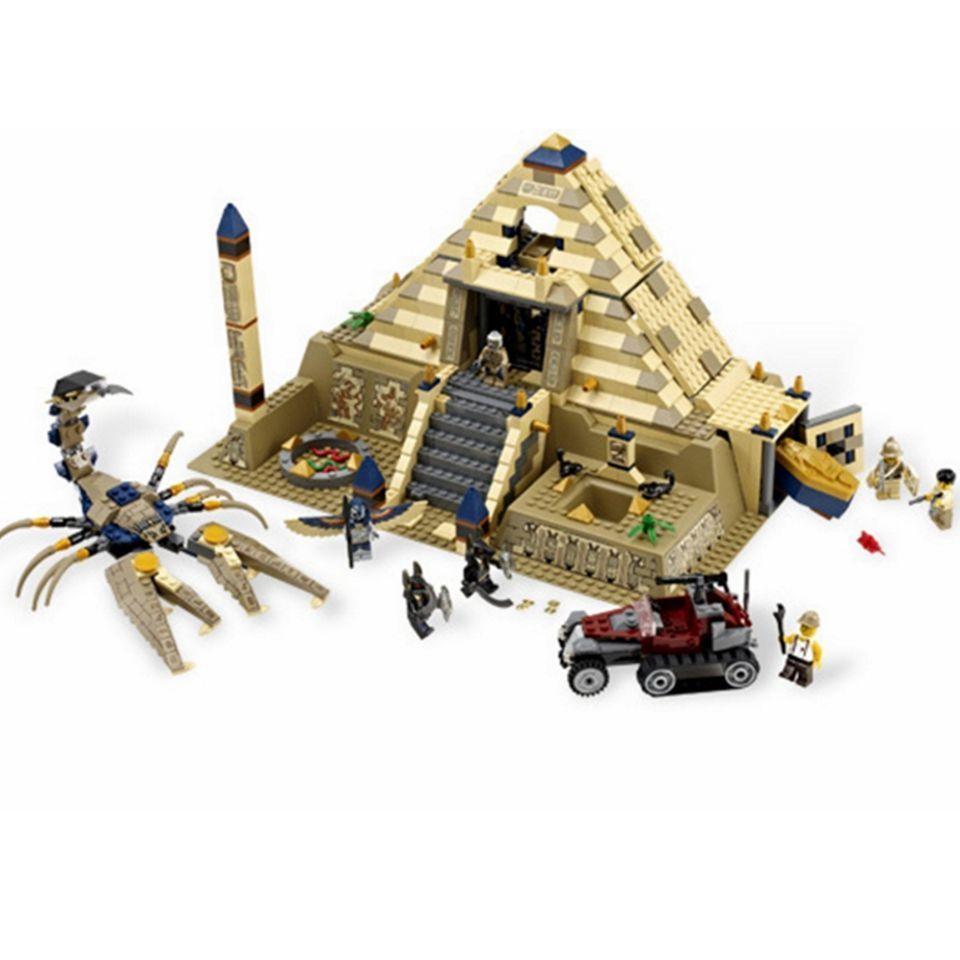 827 pcs Fit Legoness Créateurs 7327 Égyptien Pharaon Série Scorpion Pyramide Chiffres Blocs de Construction Jouets Pour Enfants De Noël Cadeaux