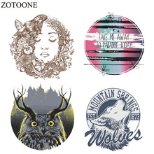 ZOTOONE Iron On Animal Patches For Clothes Sticker DIY T-shirt Iron-on Transfer Applique Fabric Girl Patch Wolf Decoration Badge