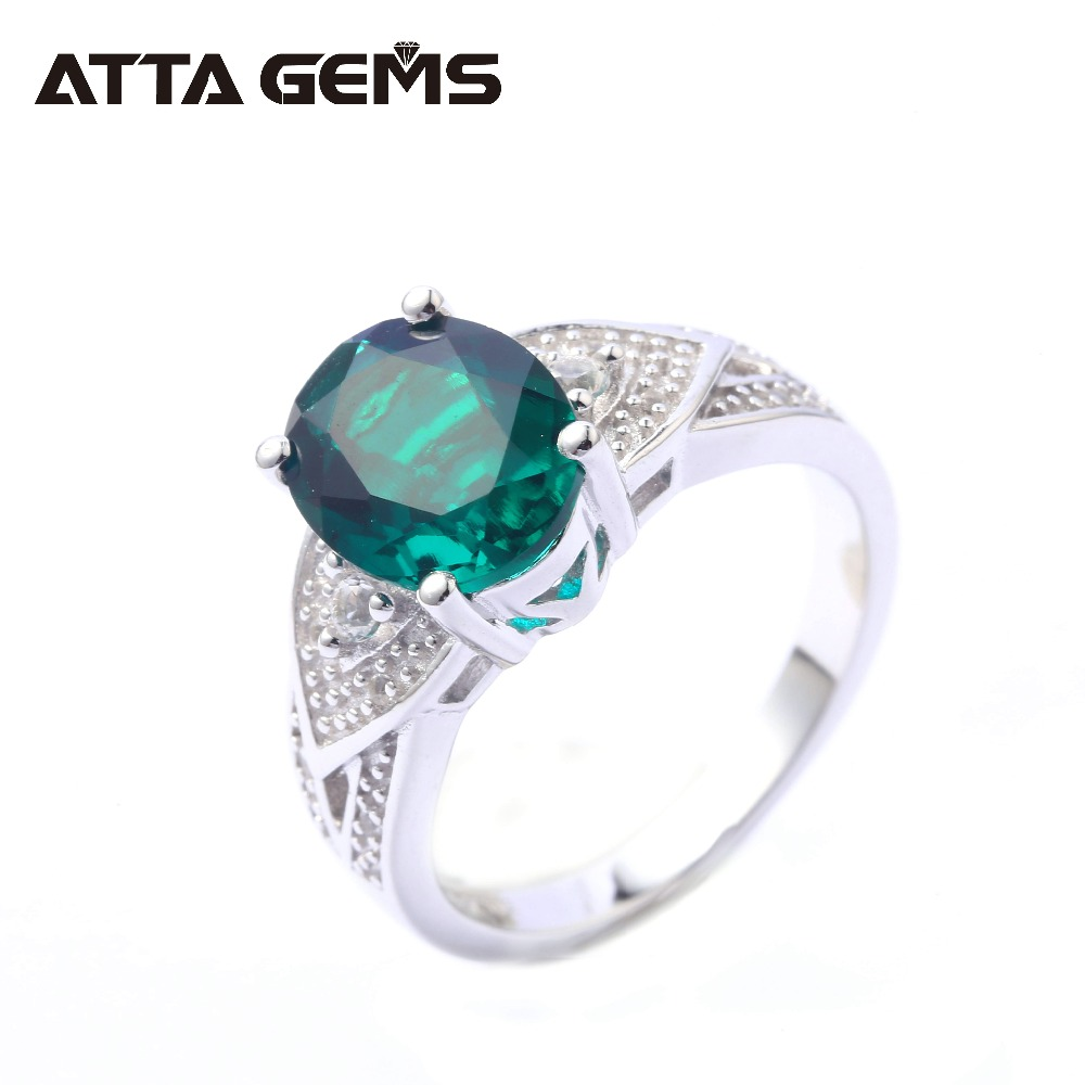 Green Emerald Sterling Silver Rings for Women 4.2 Carats Created Emerald Faced Top Quality Gemstone Silver Jewelry RingsGreen Emerald Sterling Silver Rings for Women 4.2 Carats Created Emerald Faced Top Quality Gemstone Silver Jewelry Rings