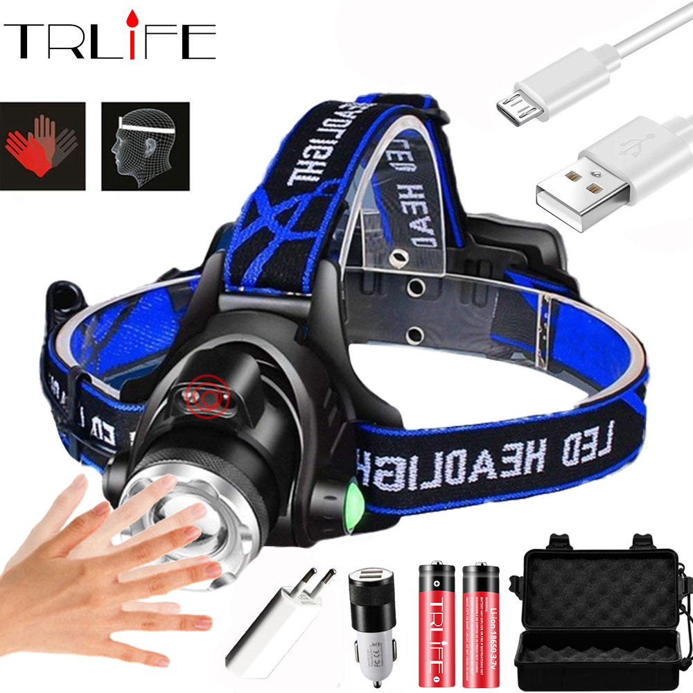 TRLIFE 20000Lm Powerfull Headlamp T6/L2 Rechargeable LED Headlight Light