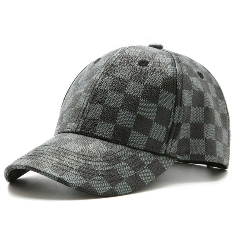 Fashion Retro Plaid PU Leather   Baseball     Cap   British Peaked   Cap   Gorras Painters Casual Cotton   Caps   Snapback Hat Dad and Mom's Hat