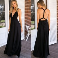 Backlakegirls Floor Length Sexy V neck Prom Dress Sleeveless Chiffon Party Evening Gowns Black Purple Green Vestido Largo