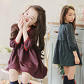 2016 New Autumn Winter Toddler Baby Girls Clothes100% Cotton Plaid Long Sleeved Wine/ Green Beautiful  Kids Dress Pretty Costume
