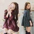 2016 Nova Outono Inverno Meninas Da Criança Do Bebê Clothes100 % Algodão Xadrez de Manga Comprida Vinho/Verde Bonito Crianças Vestido Bonito traje