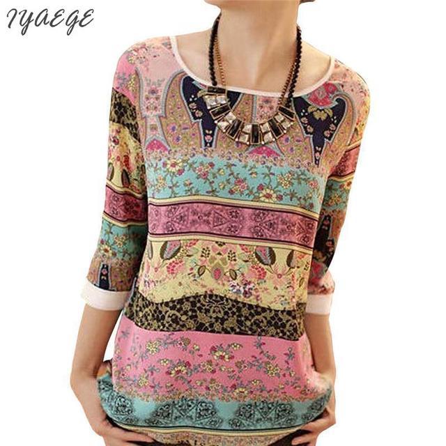 Ethnic Print Blouse Shirt Flower Floral Color Women Summer shirtsTop Femme Body Feminine Tops Vintage Clothing Women's Blouses