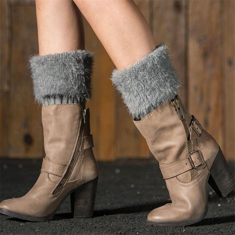 Winter New Women Leg Warmers Knitted Boot Socks Faux Fur