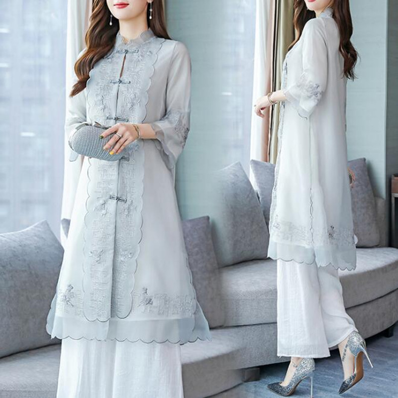 Chiffon Pant Suit For Mother Of The Bride Women Party Wedding Guest Formal Vintage Chinese Style Elegant 2 Piece Sets Pantsuit