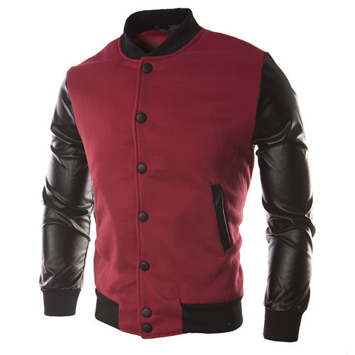 TFGS Sweater PU Leather Collar Sweater Personalized Baseball Stitching Clothes in Jackets from Men 39 s Clothing