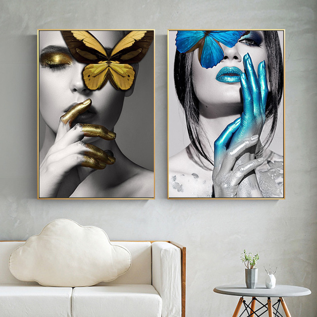 Abstract Wall Art Pictures Fashion Woman Lips Erfly Gold And White Black Canvas Painting Modern Home