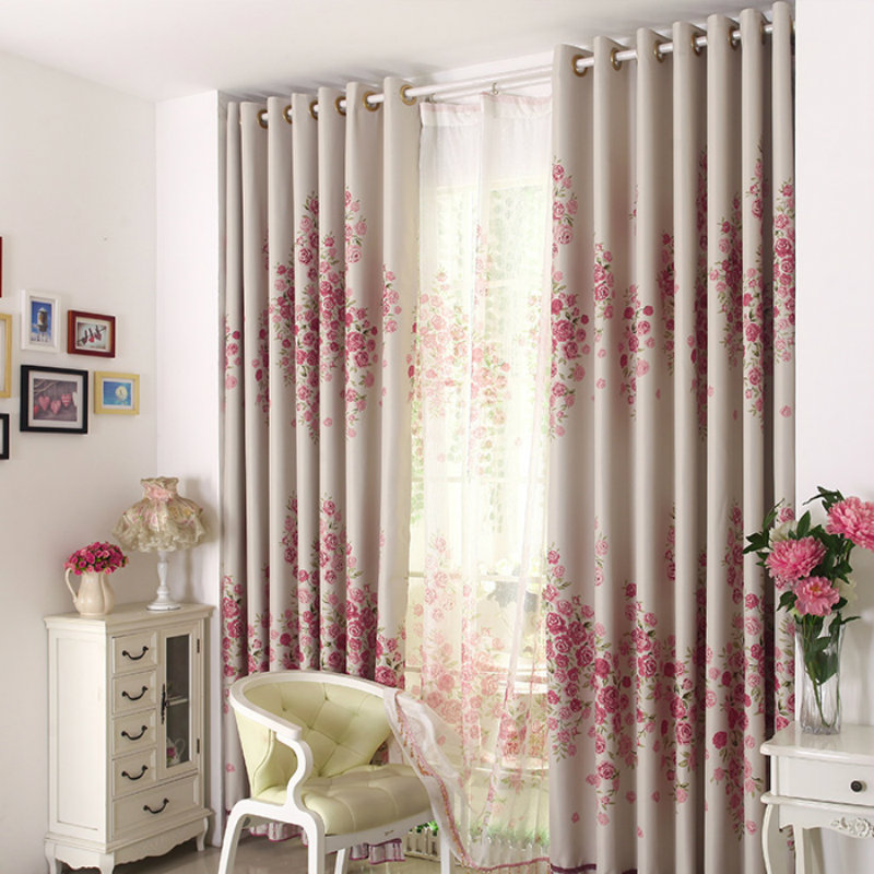 2017 Modern Printed Rose Pattern Curtain Living Room / Bedroom
