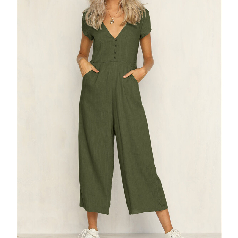 Women's Summer Short Sleeve Bodycon Slim Jumpsuit Clubwear Bodysuit Long Wide Leg Pants Rompers Casual Outfits
