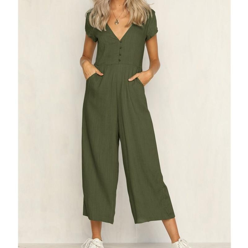 Women's Summer Short Sleeve Bodycon Slim Jumpsuit Clubwear Bodysuit Long Wide Leg Pants Rompers Casual Outfits
