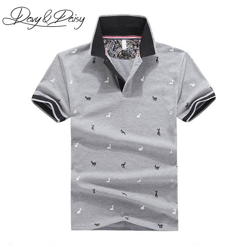 DAVYDAISY Summer   Polo   Shirt Men Slim Fit Short Sleeve Deer Print Casual Men Classical   Polo   Male Tops Tees Brand Clothing DTS-024