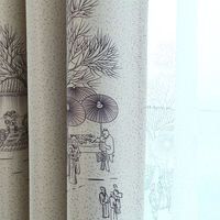 All Door Qingming Shanghe Chinese Style Window Shade Curtain KeQiao Curtain Cloth