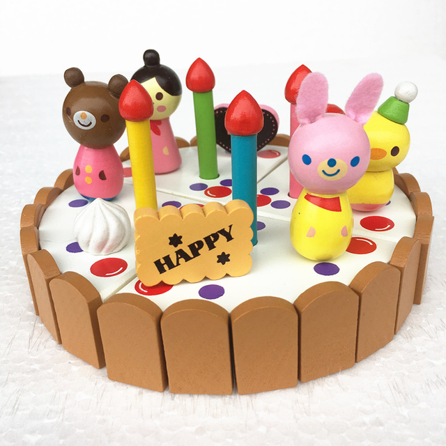 Baby Toys Wooden Birthday Cake 137cm Kitchen Wooden Toys Mini Cake