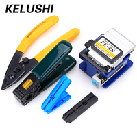 KELUSHI 5 In 1 Fiber Optic Tool Kit with FC 6S Fiber Cleaver Double port Miller stripping Stripping Tool+guider way Guide Bar