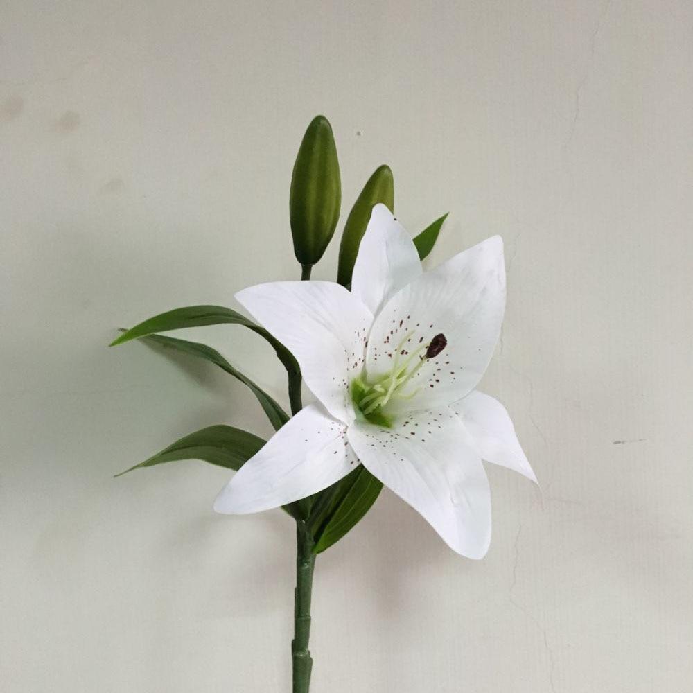 1pcs Lily Flower Artificial Silk White Lilies Pu Simulation Flowers