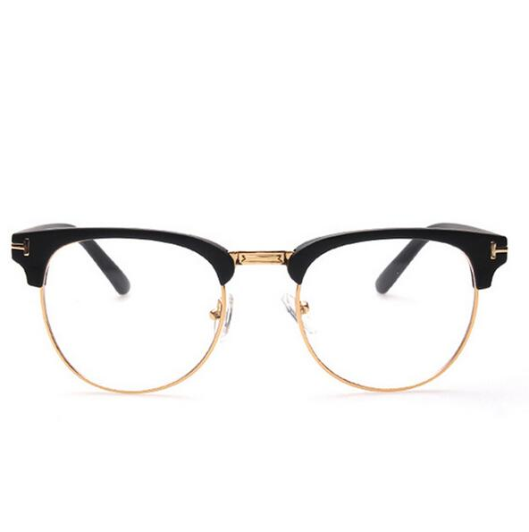 f4b0e8b9df6 High Quality Metal Decoration Eyeglasses Frame Men Women Optical Frames  Retro Half Rim Glasses Grame Female Golden Frame-in Eyewear Frames from  Apparel ...
