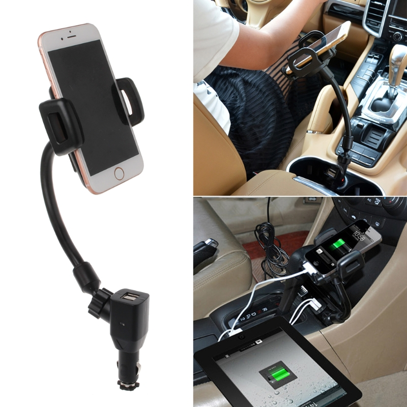 Car Cigarette Lighter Mount Stand Holder + 2 USB Port Charger For Phone
