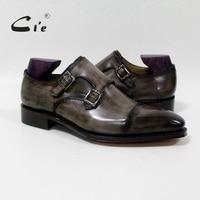 CIE квадратный captoe Double Monk Бретели для нижнего белья патина Оливер серый ручной работы Для Мужчин's телячьей кожи дышащие goodyear welted обуви Для му