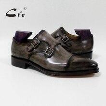 Chaussure tressée respirante en cuir de veau gris olivier, bretelles à Double moine, à bout carré, cie, faite à la main, pour homme, MS 01 09