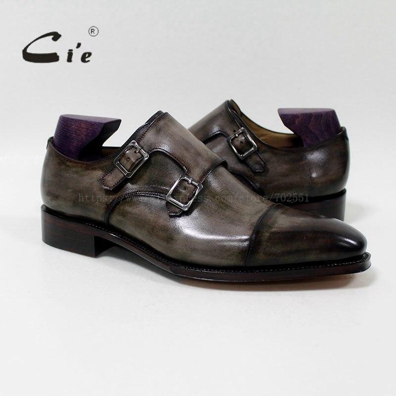 Cie carré Captoe Double moine sangles patine Oliver gris fait à la main hommes en cuir de veau respirant Goodyear Welted chaussure hommes MS-01-09