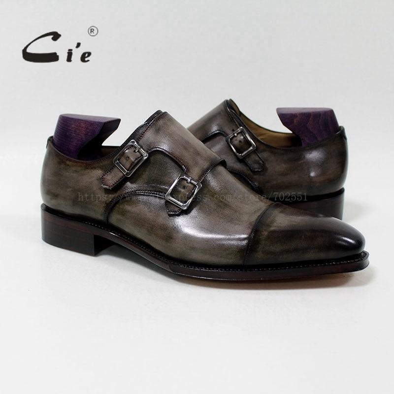 Cie cuadrado Captoe doble monje correas Patina Oliver gris hecho a mano piel de becerro transpirable Goodyear botas hombres MS-01-09