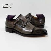 cie Square Captoe Double Monk Straps Patina Oliver Grey Handmade Men's Calf Leather Breathable Goodyear Welted Shoe Men MS 01 09