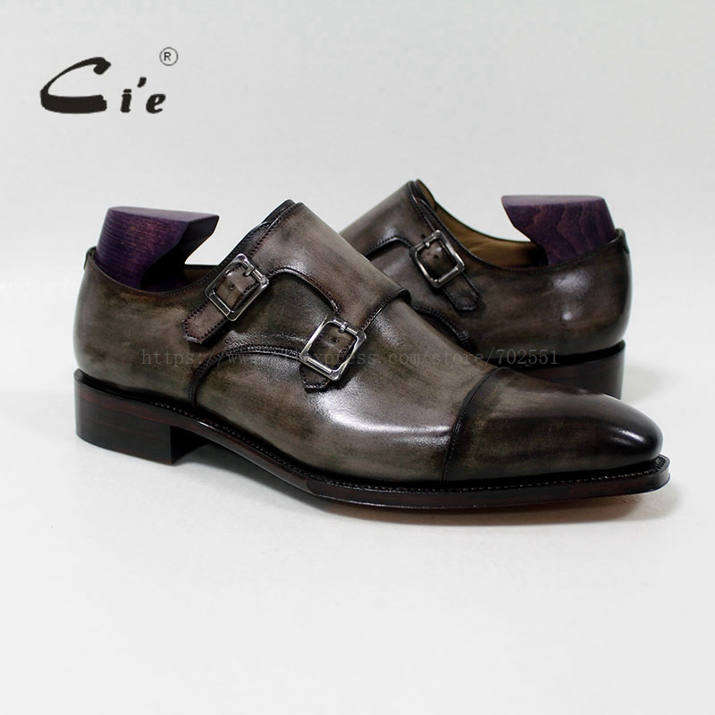 cie Square Captoe Double Monk Straps Patina Oliver Grey Handmade Men's Calf Leather Breathable Goodyear Welted Shoe Men MS-01-09