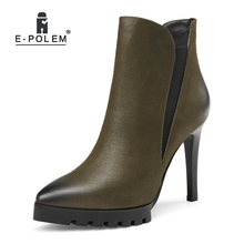 Fashion Female Genuine Leather Boots Side Zip Short Ankle Boots Women Pointed Toe Platform High Heel Boots New 2018 zip high heel vintage platform women casual footwear martins boots metal decoration ankle microfiber genuine leather fashion