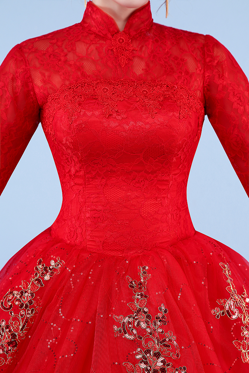 Image 5 - Vestidos De boda De foto Real 2017 cuello alto estilo coreano rojo romántico Novia princesa encaje con bordado De oro Vestido De Novia-in Vestidos de novia from Bodas y eventos on AliExpress