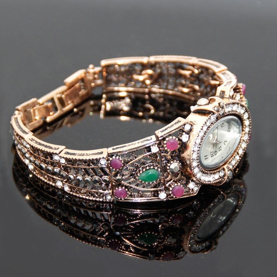 Vintage türkische Armbanduhr Armreif Schmuck Frauen Runde Blume - Modeschmuck - Foto 3